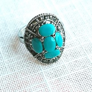 Vintage Silver and turquoise marcasite Ring